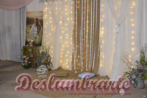 15 años estilo vintage en rosado, celeste y beige